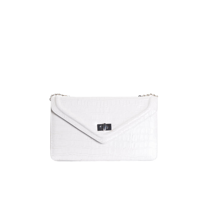 Amandine White Croco Shoulder Bags