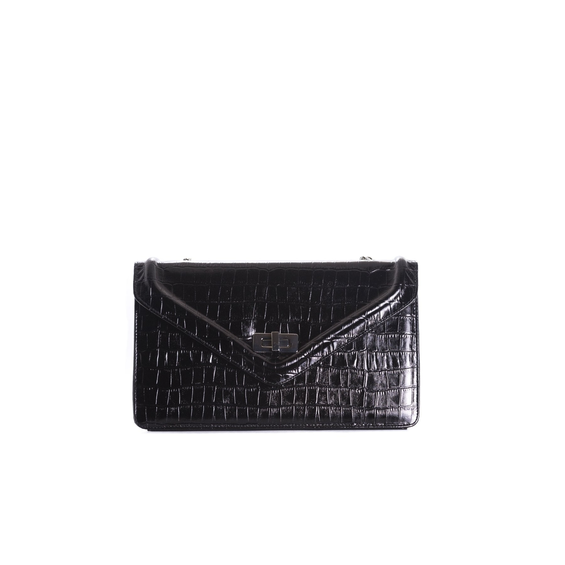 Amandine Black Croco Shoulder Bags