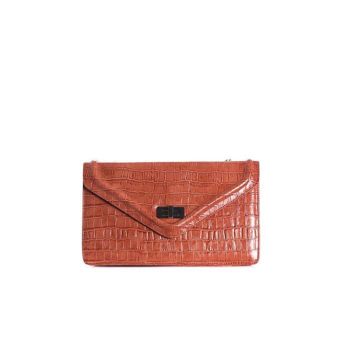 Amandine Rust Croco Shoulder Bags
