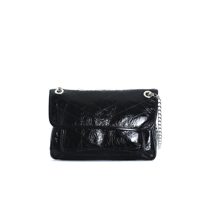 Amante Black Leather Shoulder Bags
