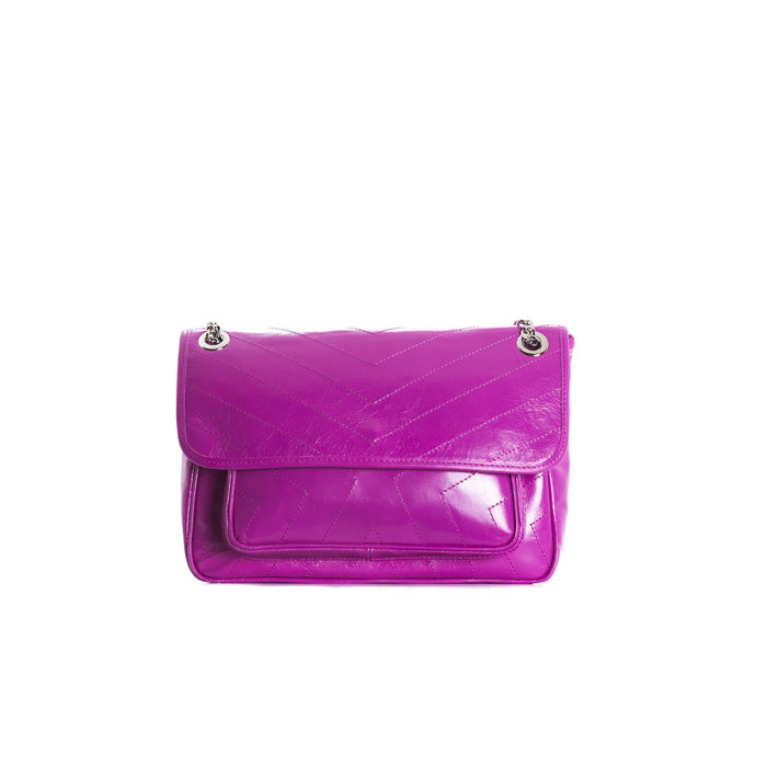 Amante Fuchsia Leather Shoulder Bags
