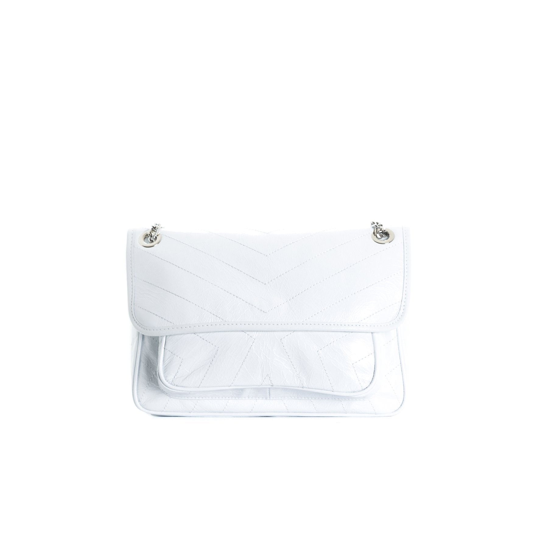 Amante White Leather Shoulder Bags