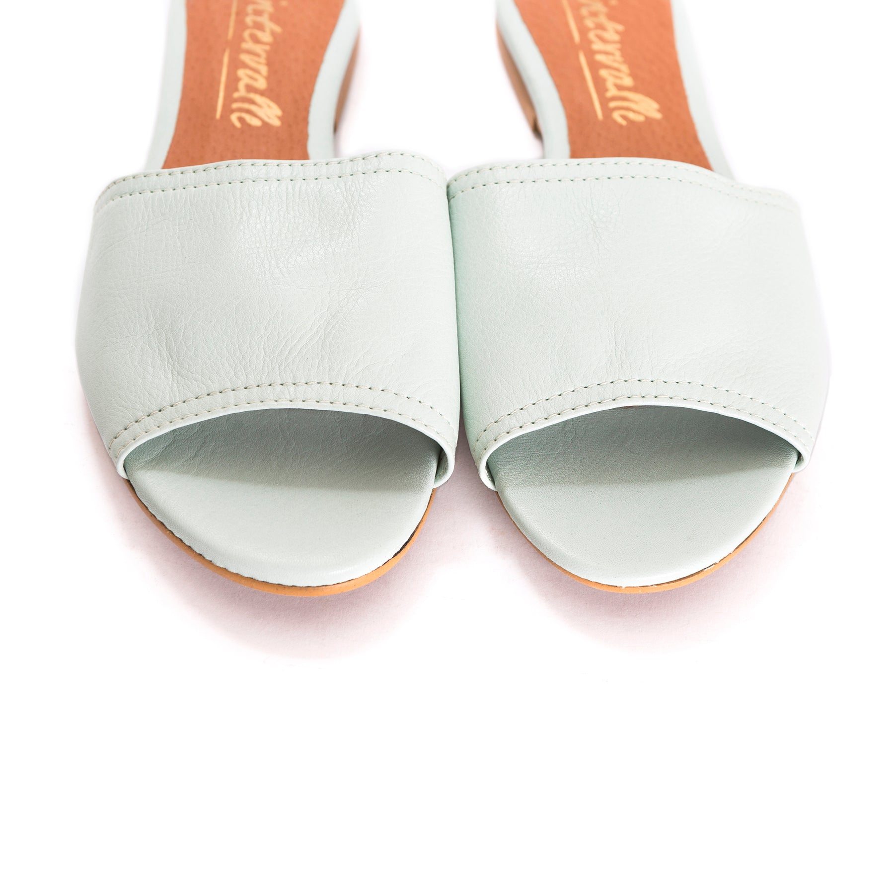 Ambra Mint Leather Mules