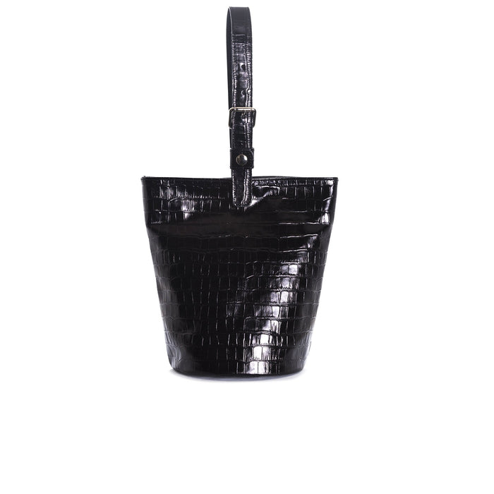 Angele Black Croco Tote Bags