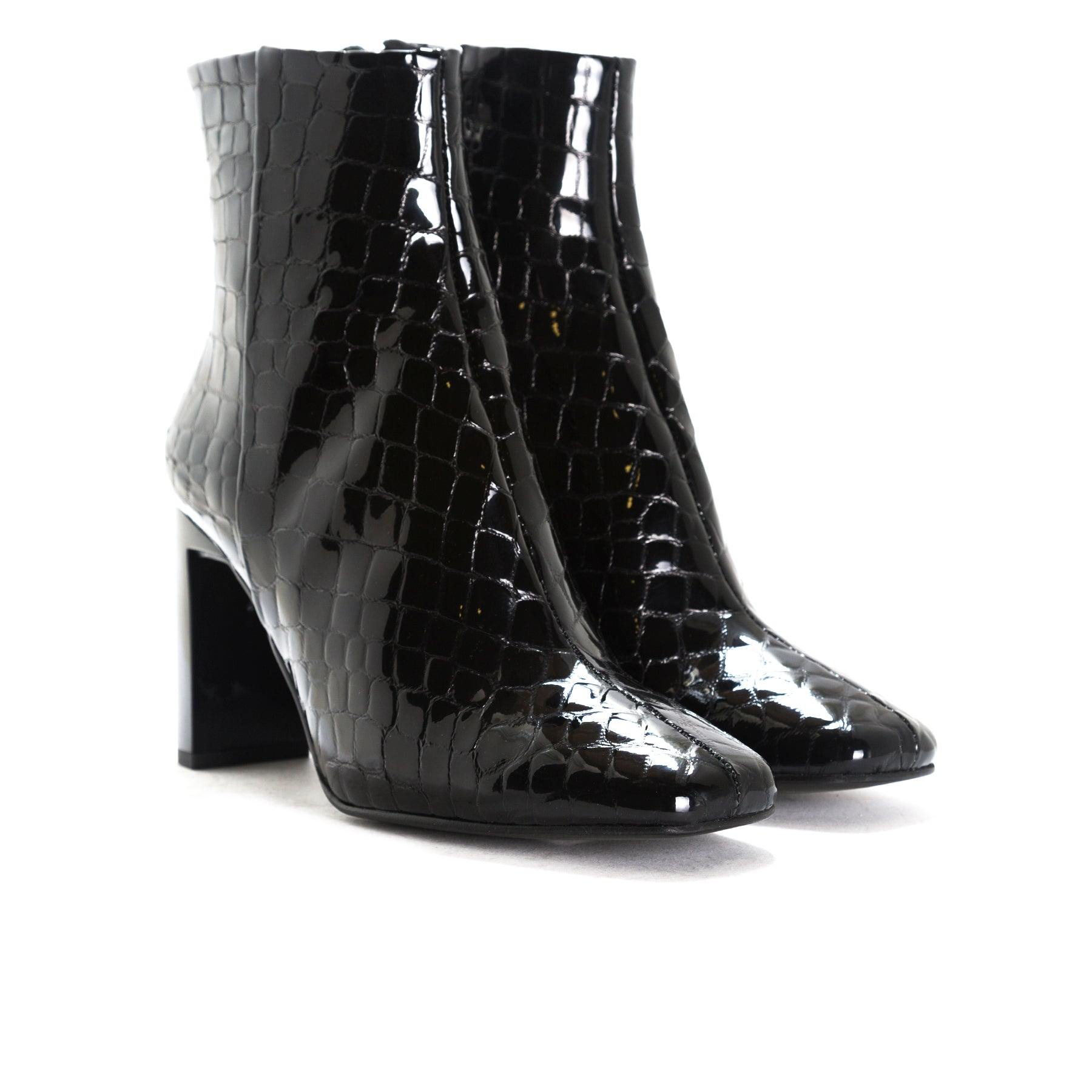 Ashbury Black Croco Leather Booties