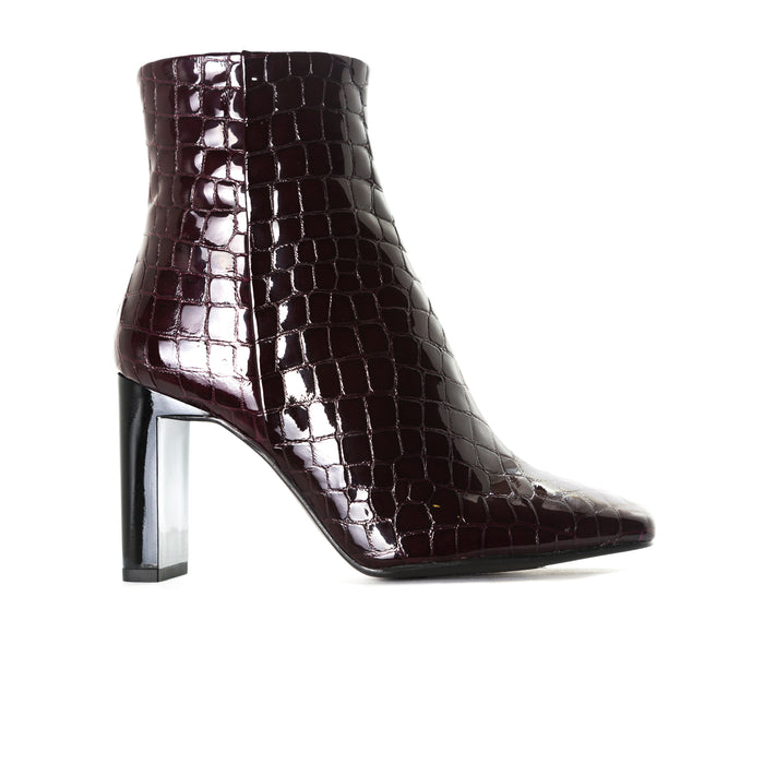 Ashbury Bordo Croco Leather Booties