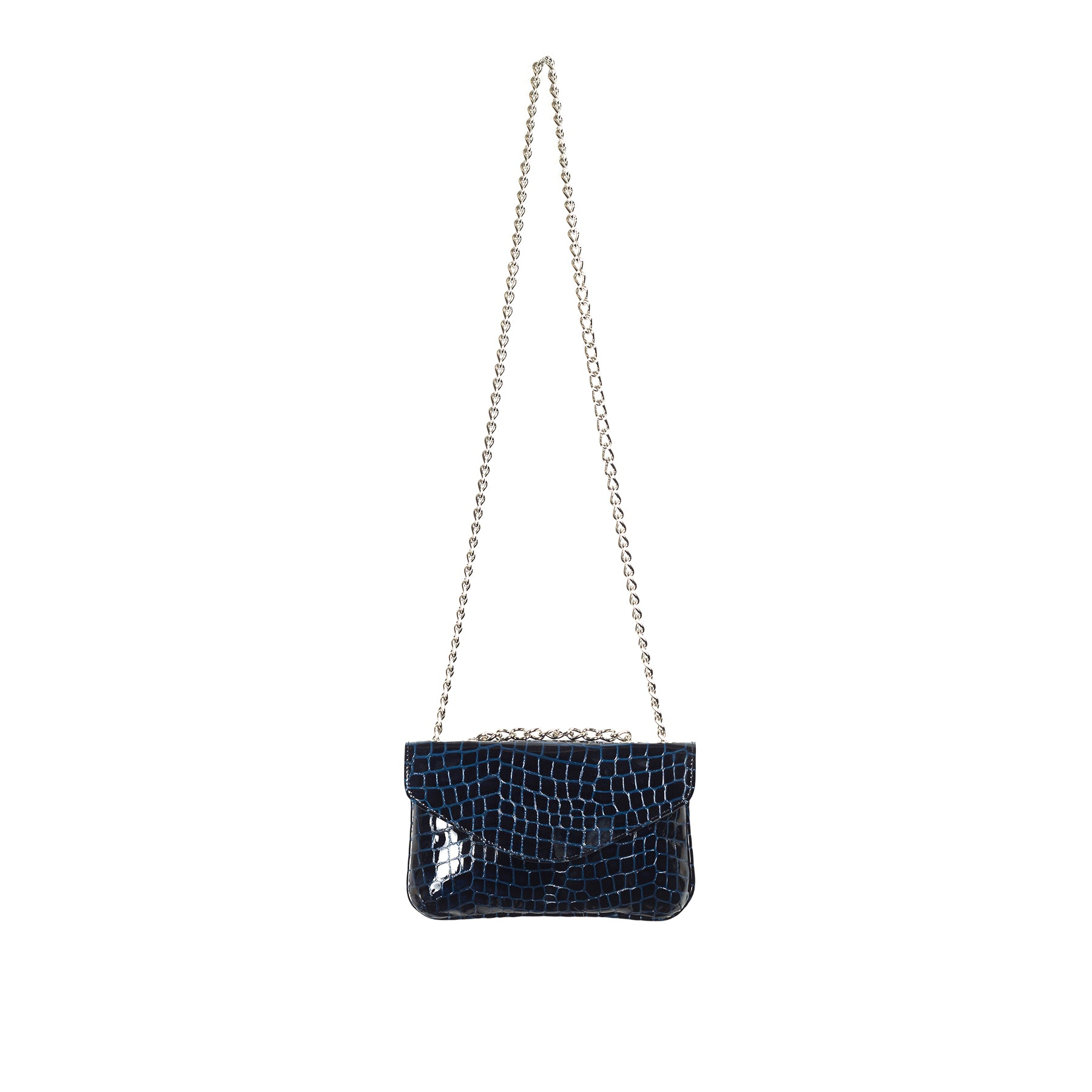 Astrid Navy Croco Shoulder Bags