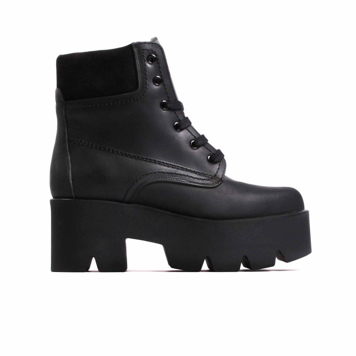 Boots, Attack Black Leather - Lintervalle shoes for woman