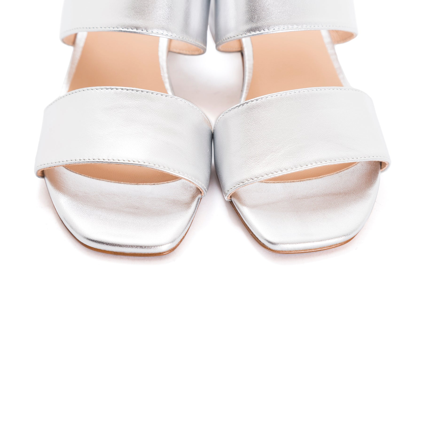 Aurora Silver Leather Sandals