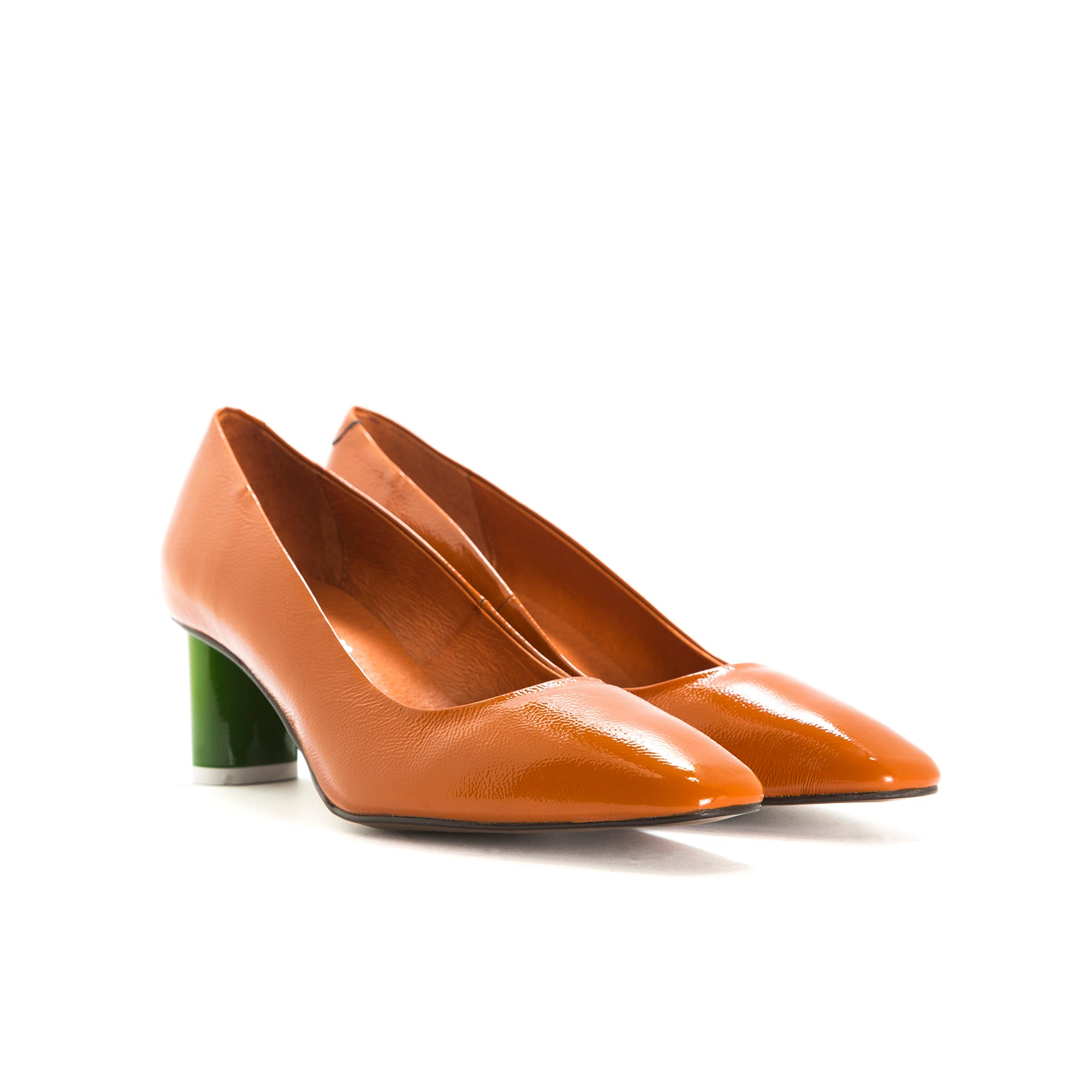 Becky Orange Naplack Pumps