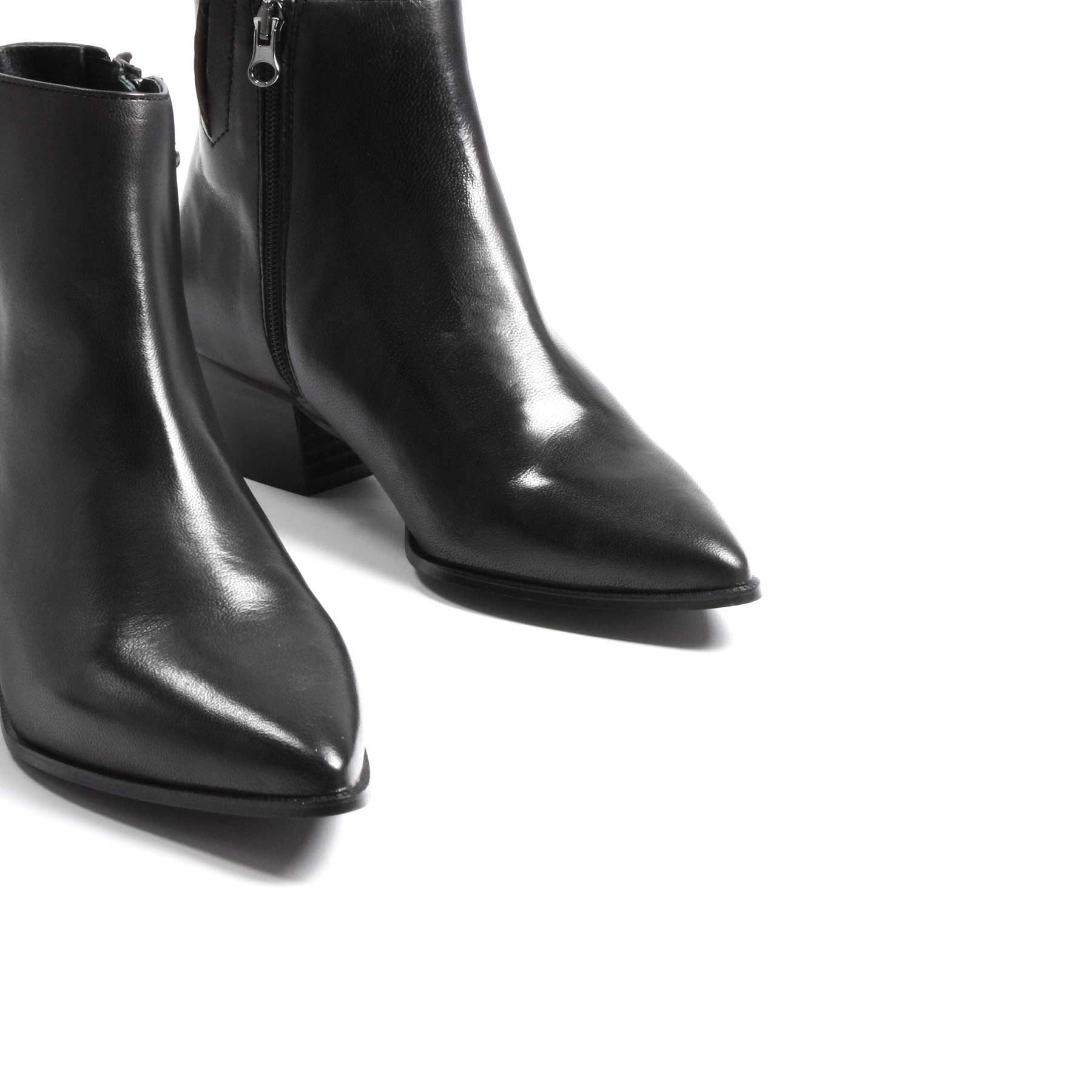 Boots, Bleecker Black Leather - Lintervalle shoes for woman
