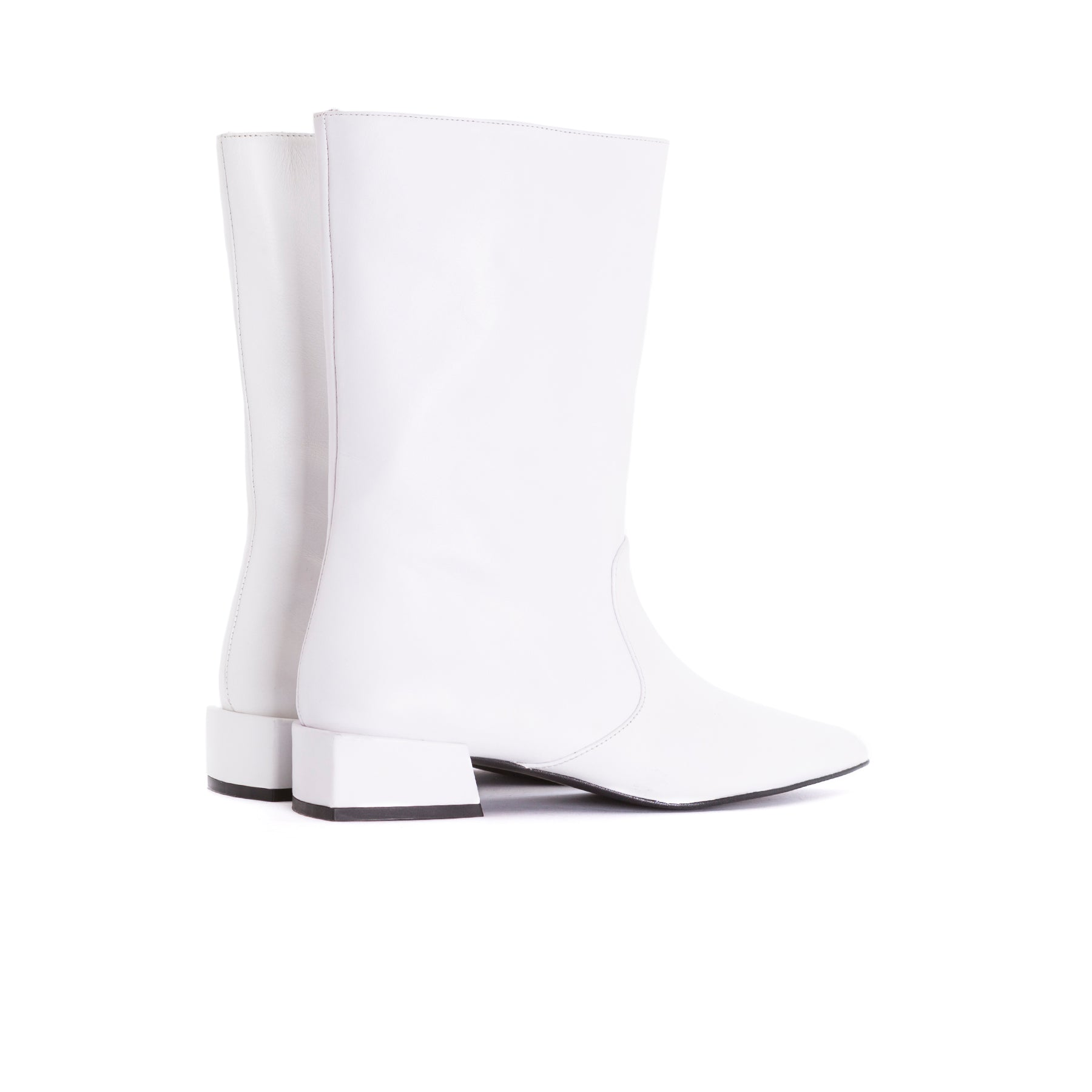 Bono White Leather Booties