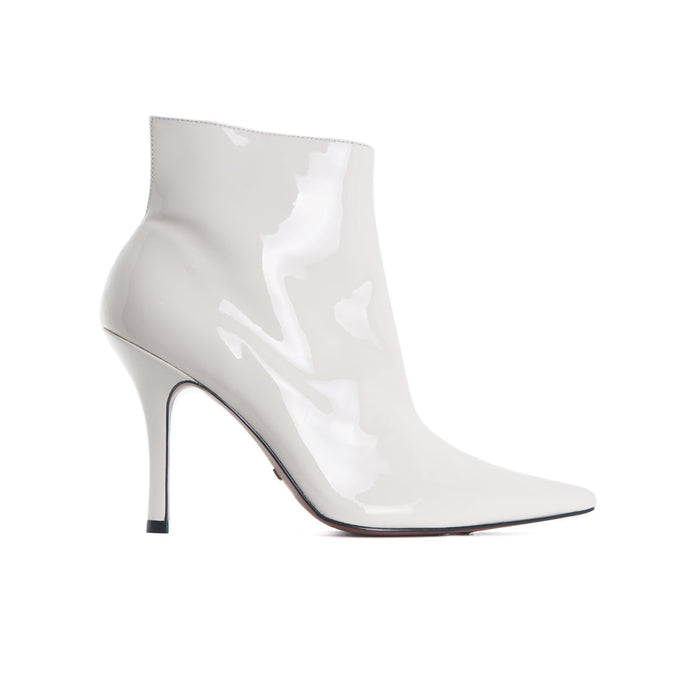 Jessica White Patent Ankle Boots