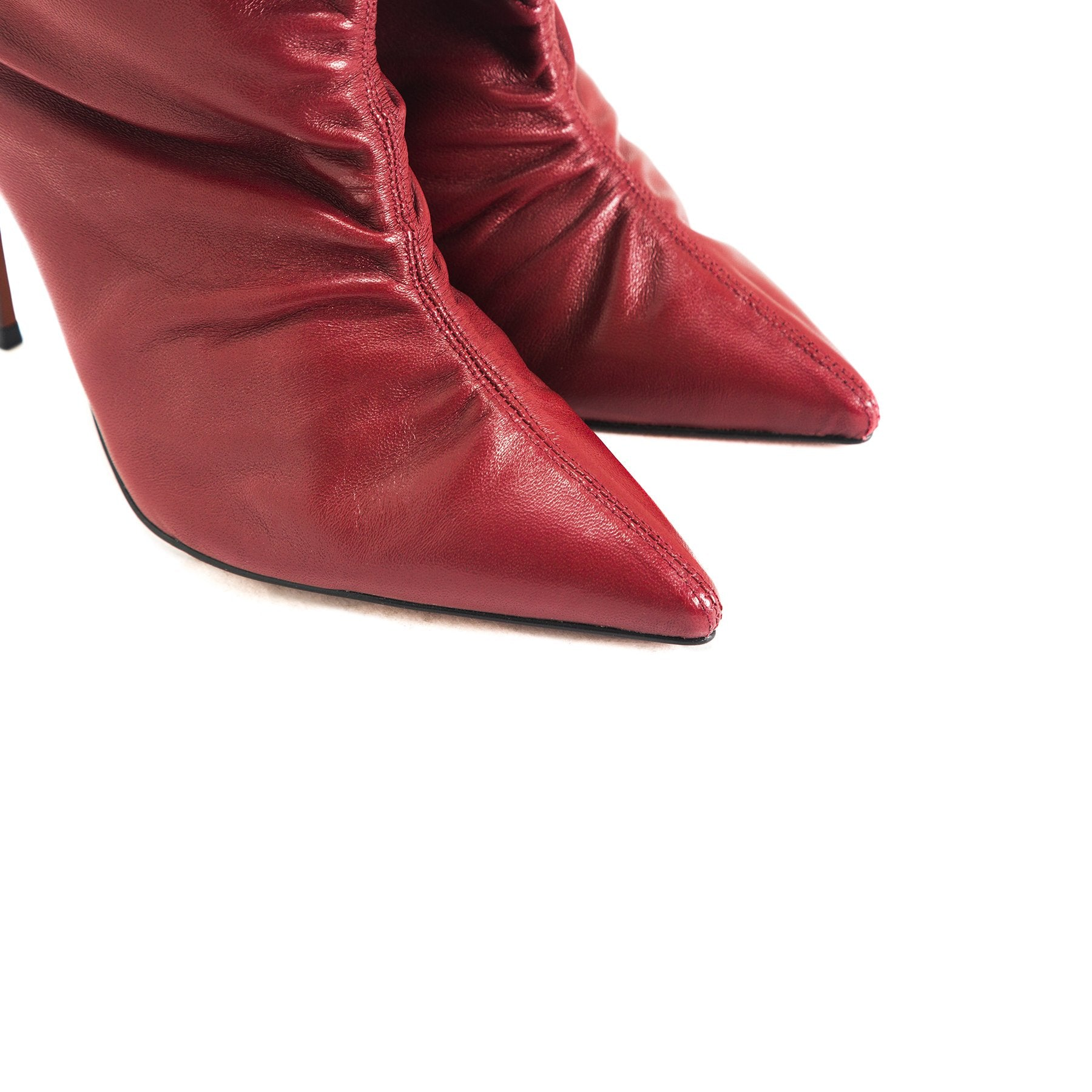 Kate Red Leather Ankle Boots