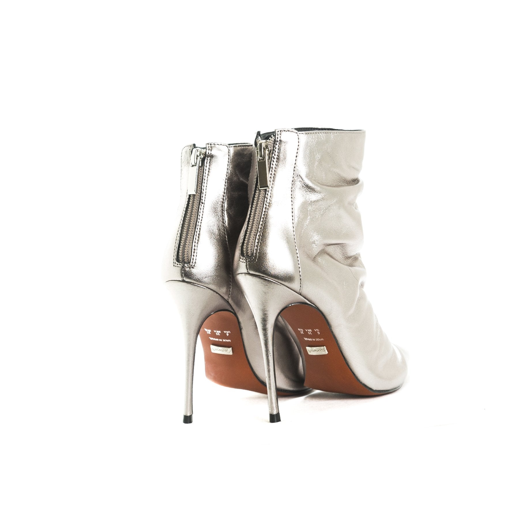 Kate Silver Leather Ankle Boots
