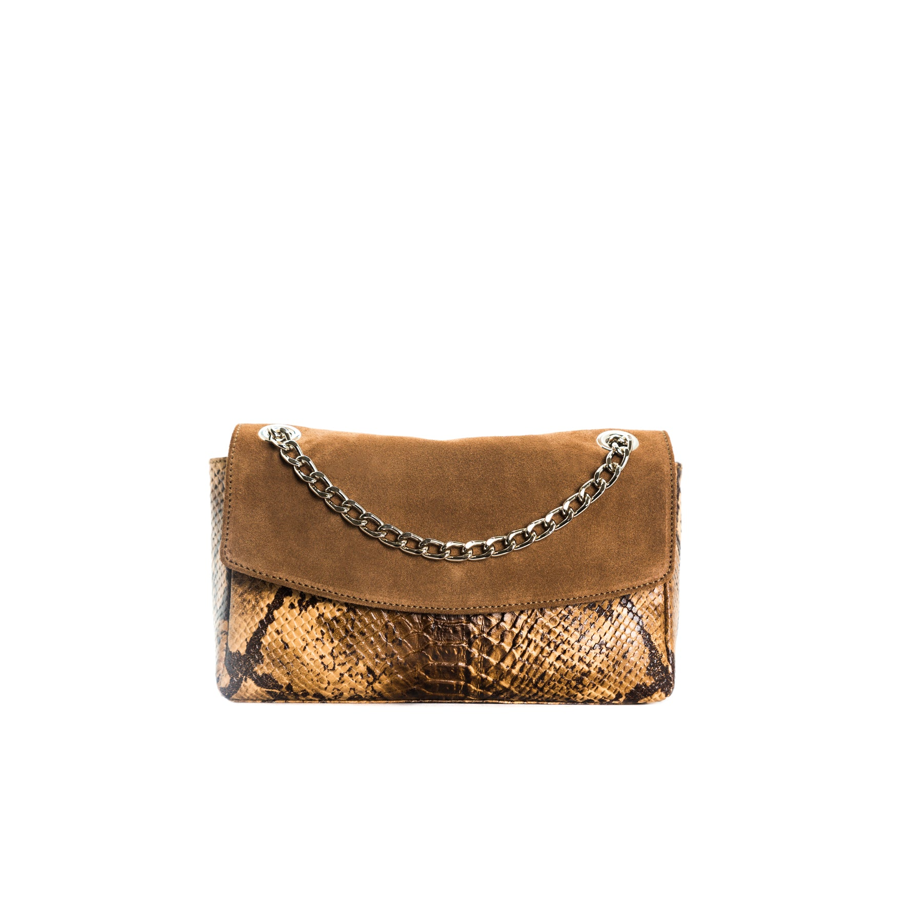 Brigitte Tan Snake Shoulder Bags