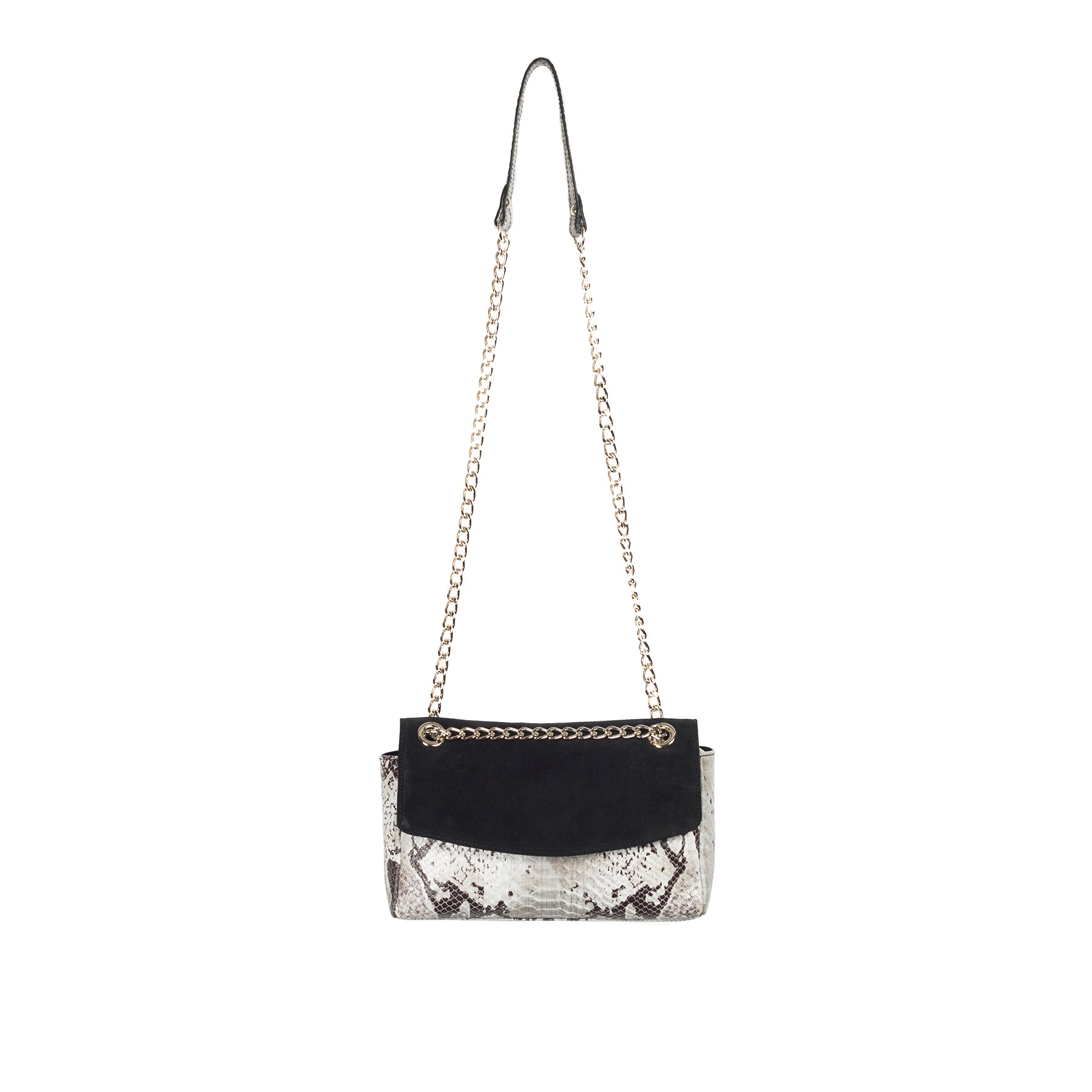 Brigitte Black Snake Shoulder Bags
