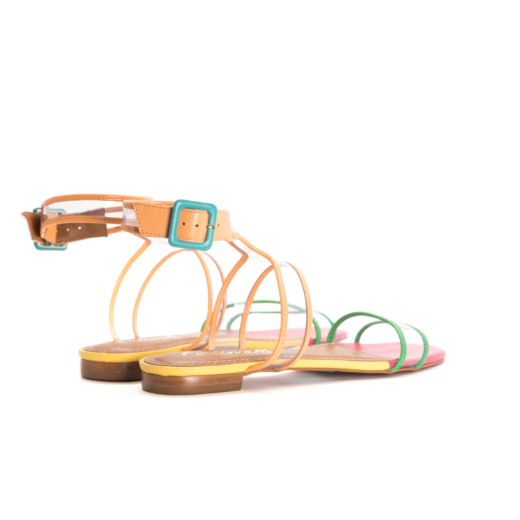 Candy Cane Clear/Multi Leather Sandals