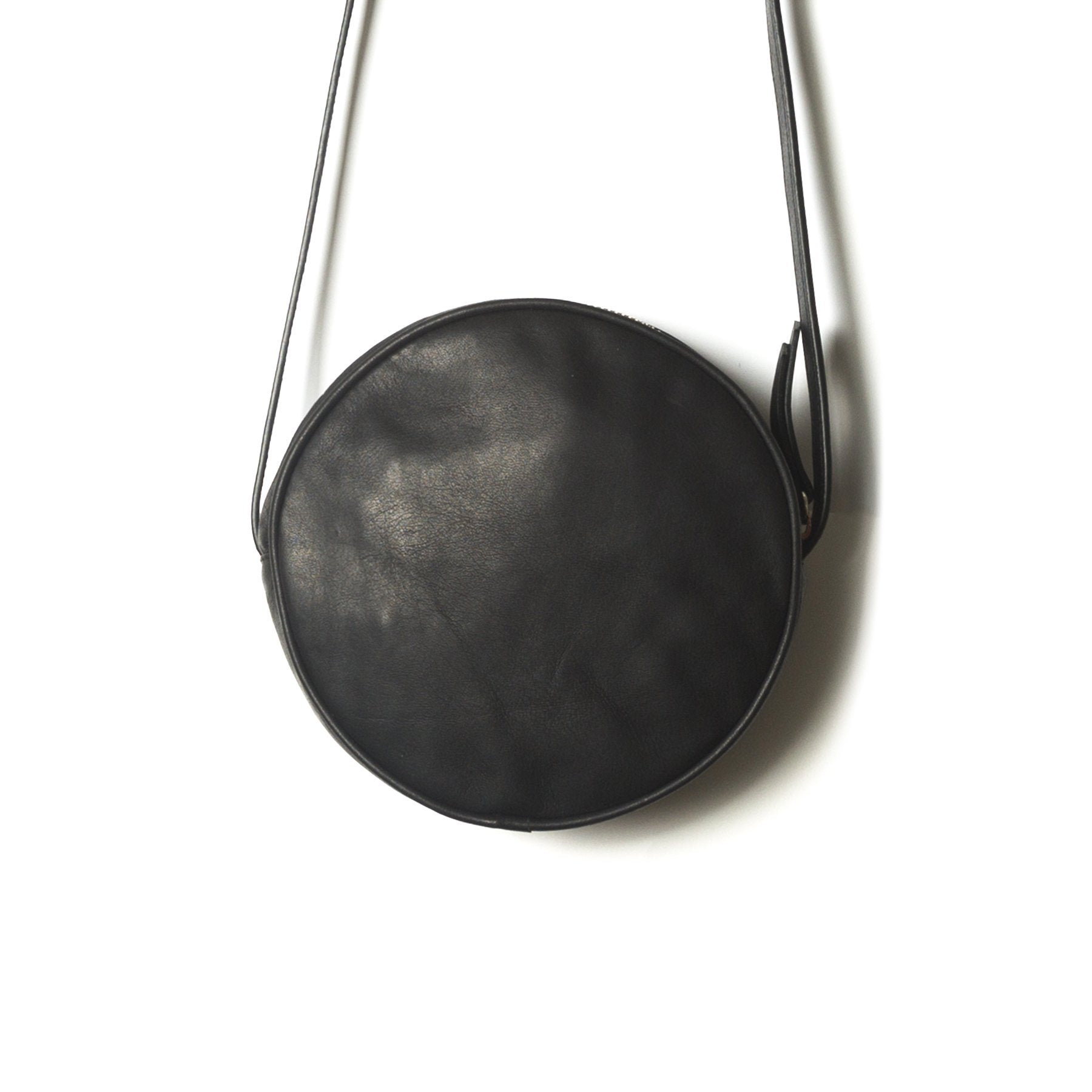 Circle Black Leather Shoulder Bags
