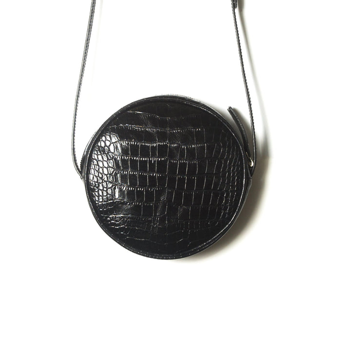 Circle Black Croco Shoulder Bags