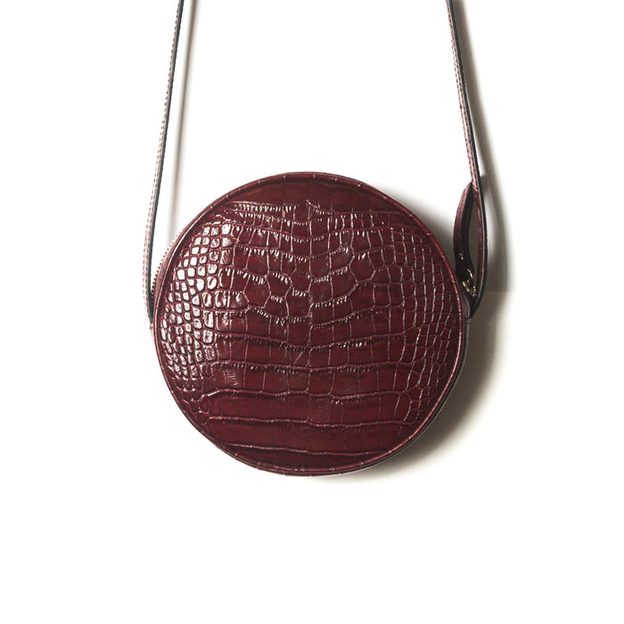Circle Bordo Croco Shoulder Bags