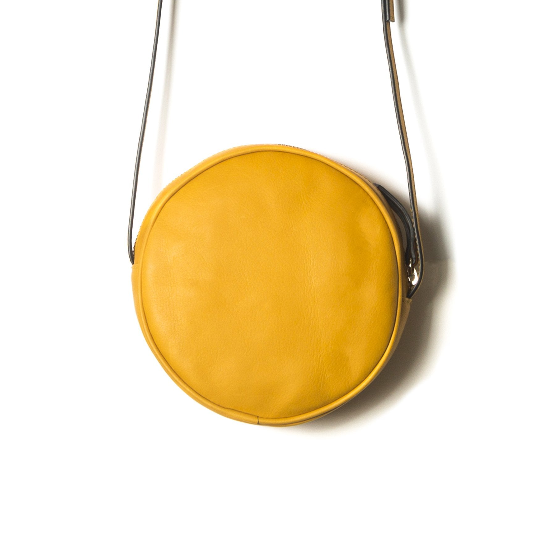 Circle Mustard Leather Shoulder Bags