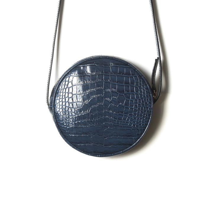 Circle Navy Croco Shoulder Bags