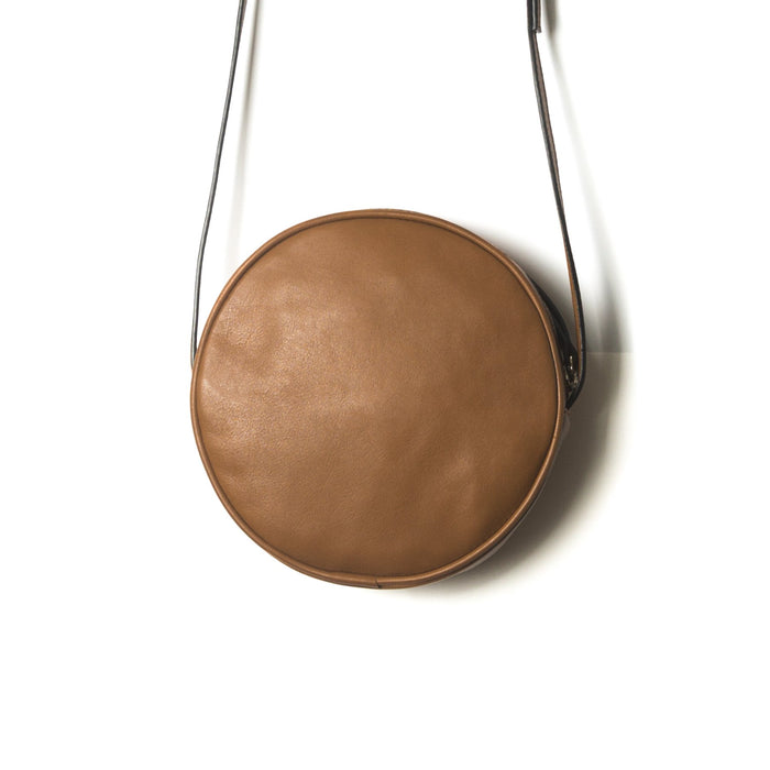 Circle Caramel Leather Shoulder Bags