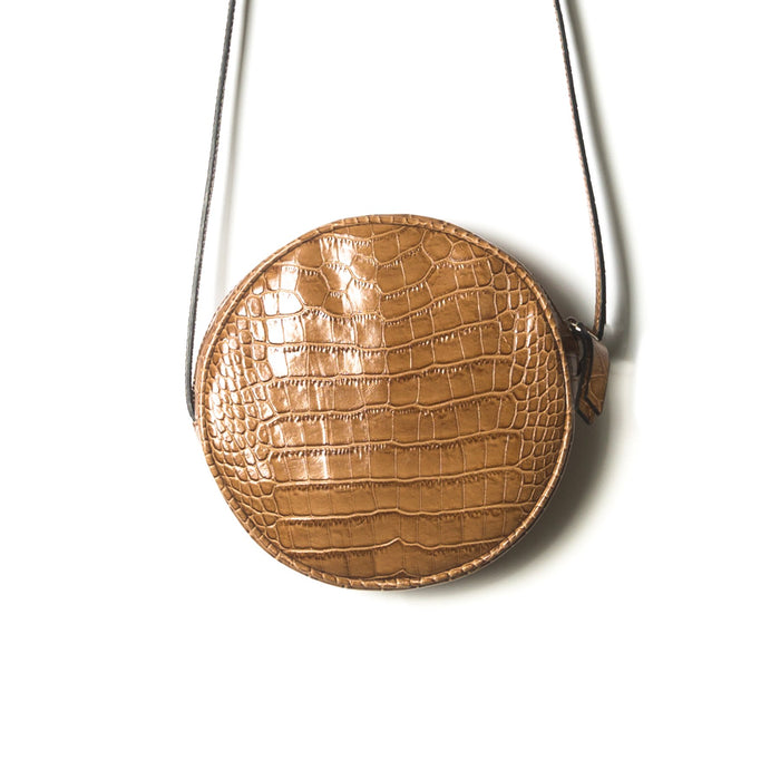 Circle Tan Croco Shoulder Bags