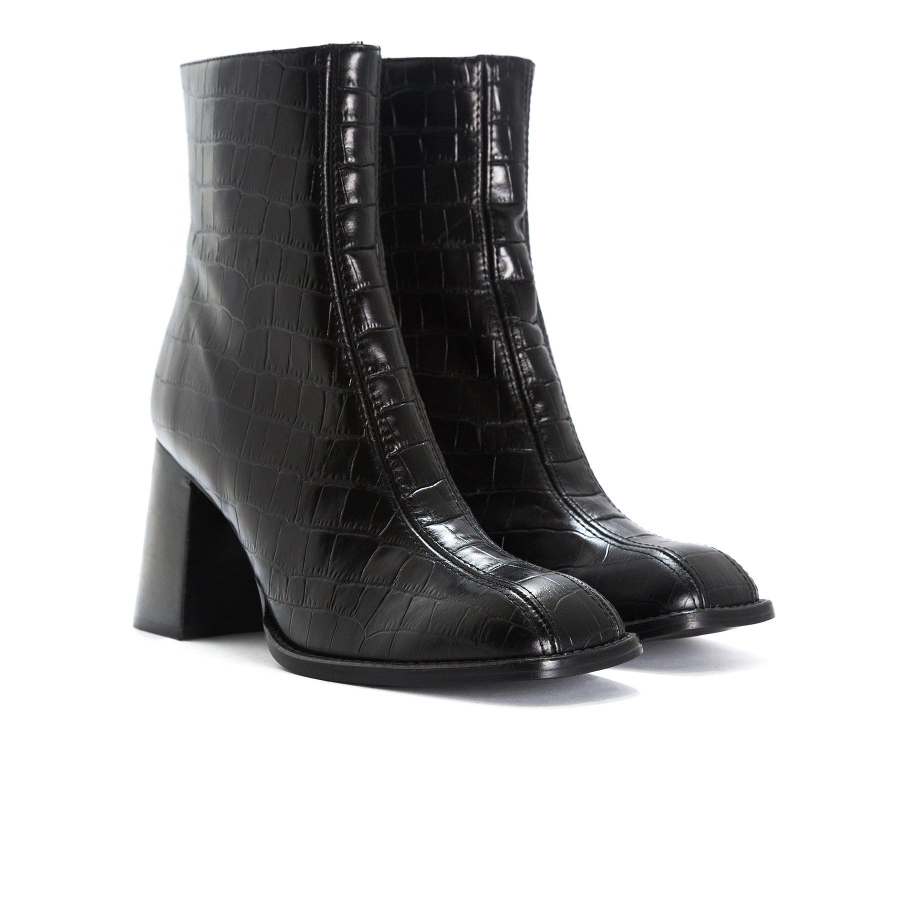 Clarence Black Croco Booties