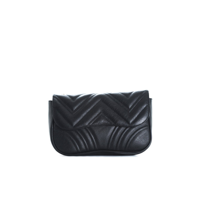 Coralie Black Leather Shoulder Bags