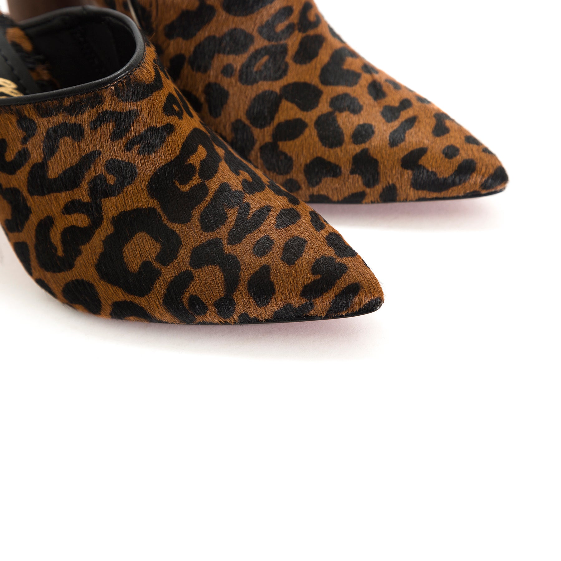 Cougar Honey/Black Leopard Fur Mules
