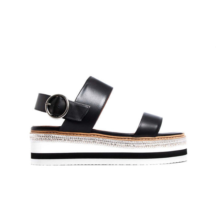 Flatforms, Cucasia Black Leather - Lintervalle shoes for woman