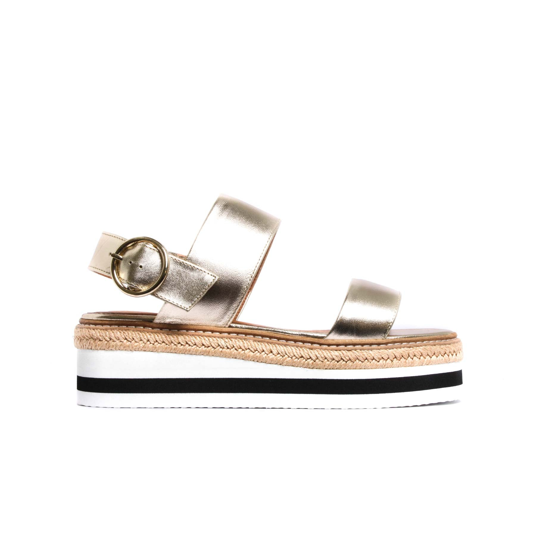 Flatforms, Cucasia Gold Leather - Lintervalle shoes for woman