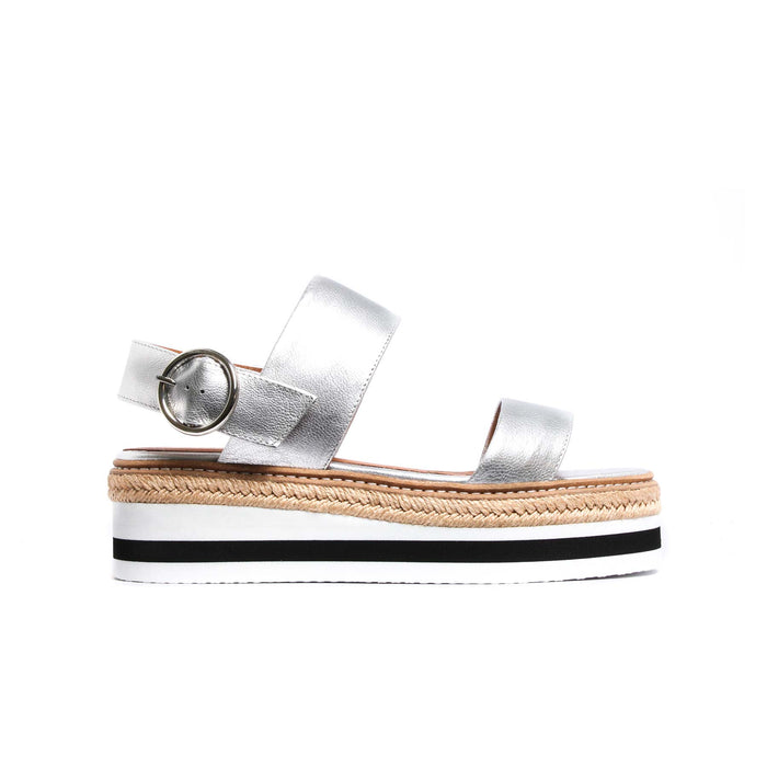 Flatforms, Cucasia Silver Leather - Lintervalle shoes for woman