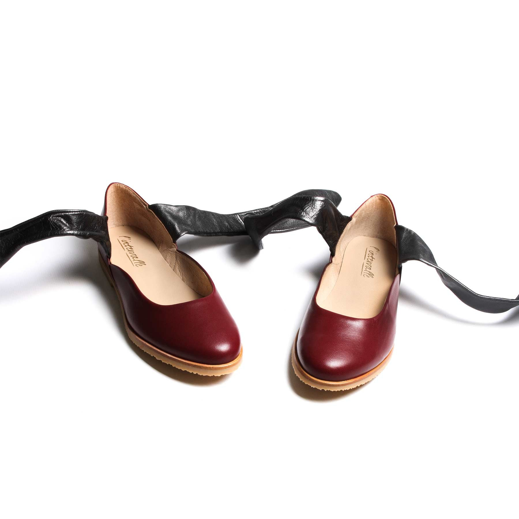 Shoes, Dacre Bordeau Leather - Lintervalle shoes for woman