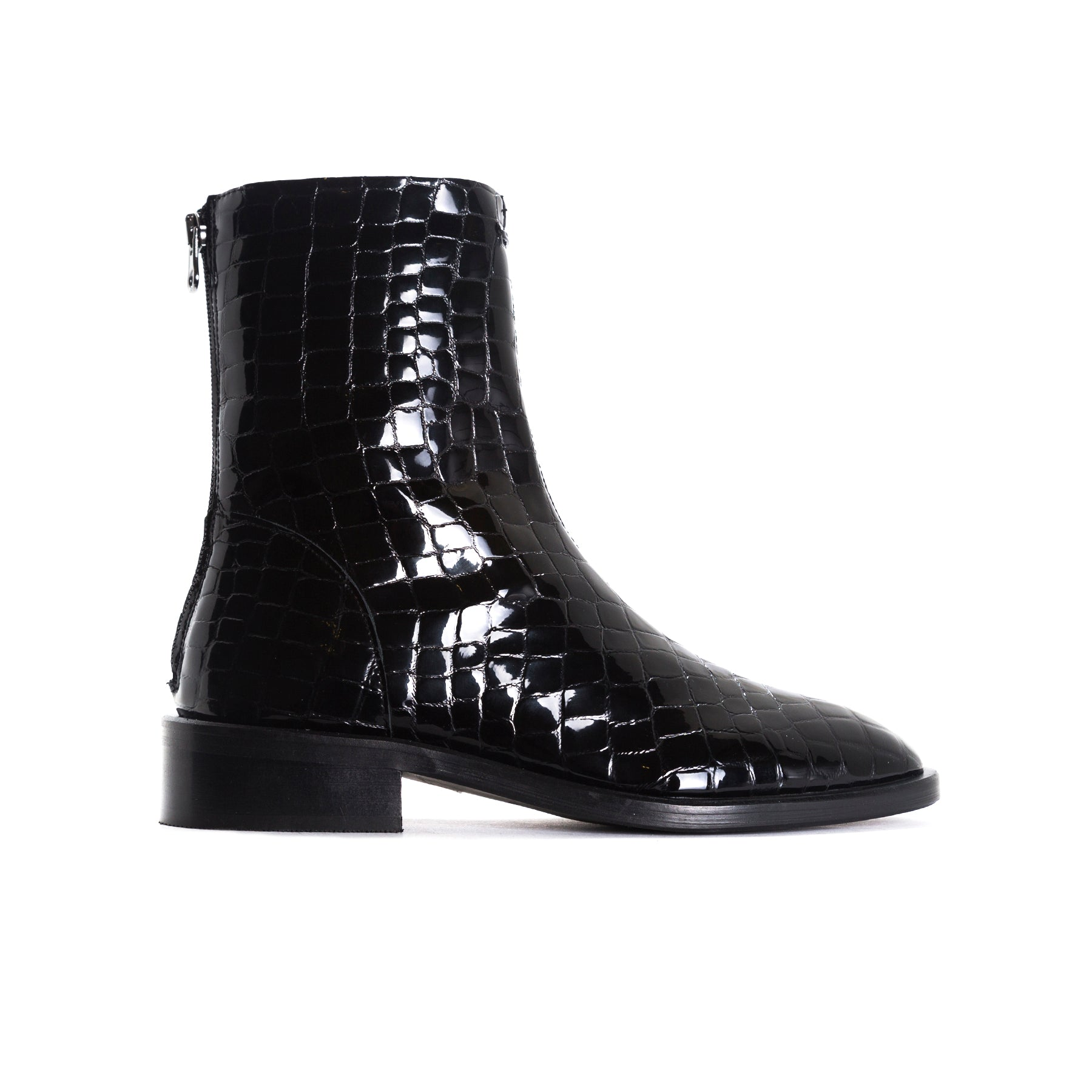 Dalton Black Croco Booties