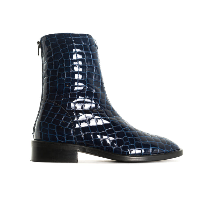Dalton Navy Croco Booties