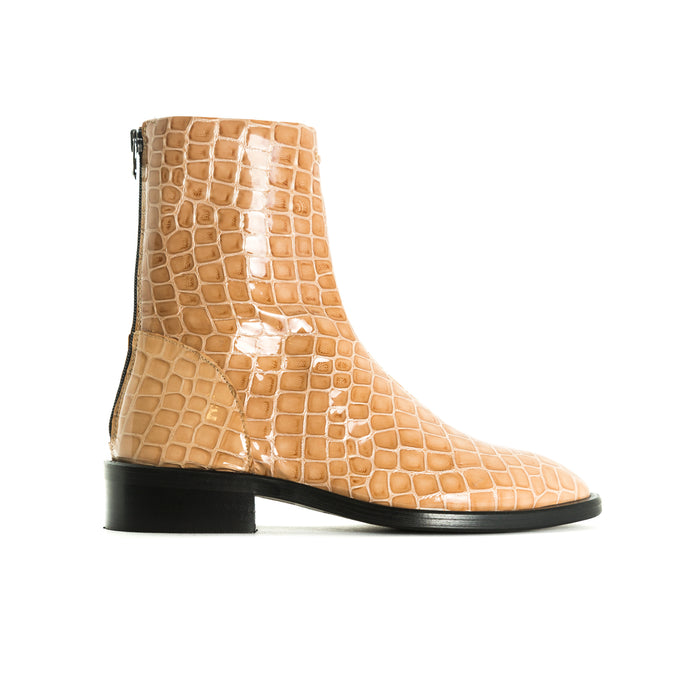 Dalton Nude Croco Booties