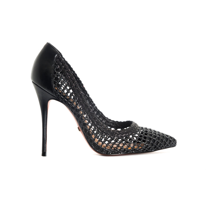 Dama Black Leather Pumps