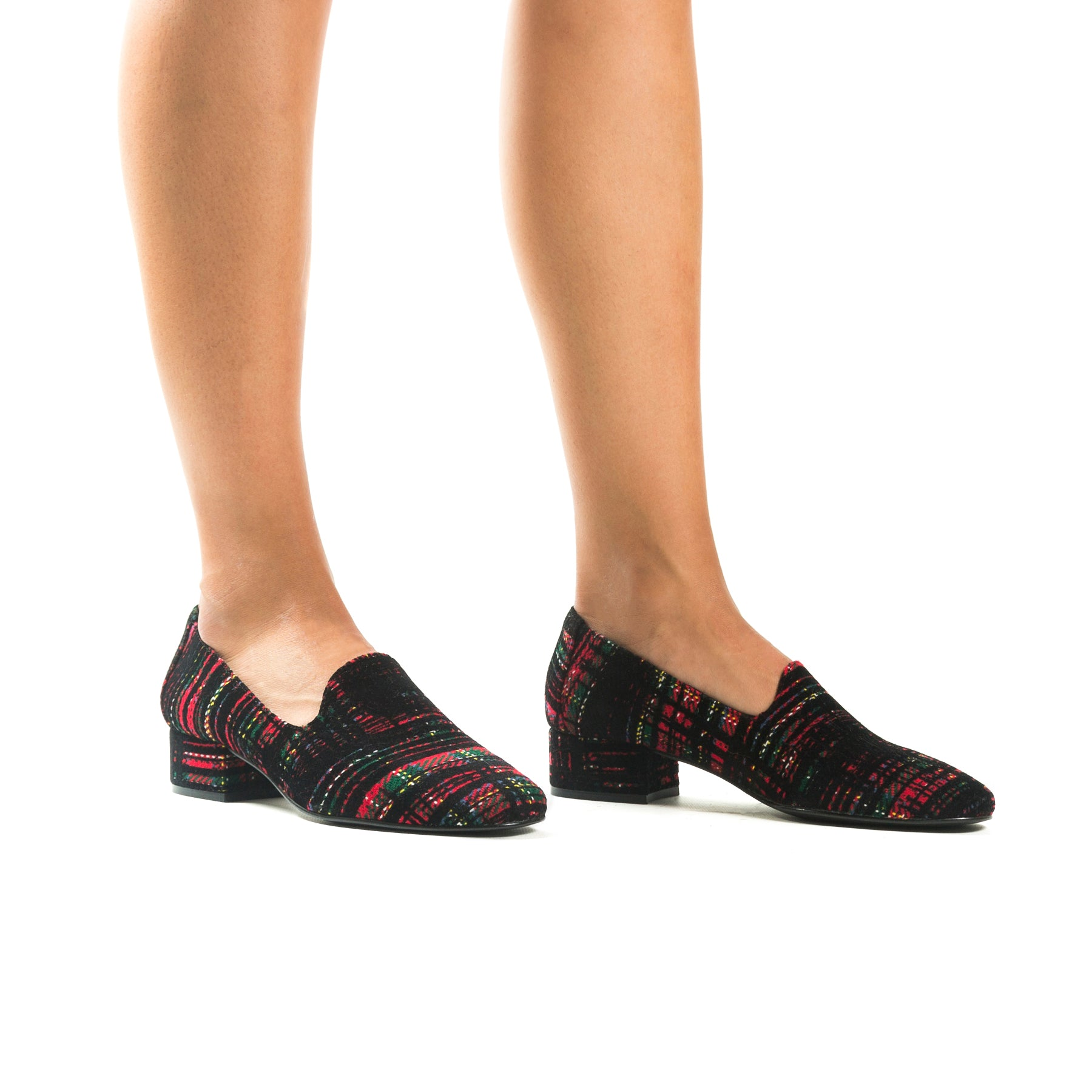 Daria Green/Red/Black Fabric Shoes