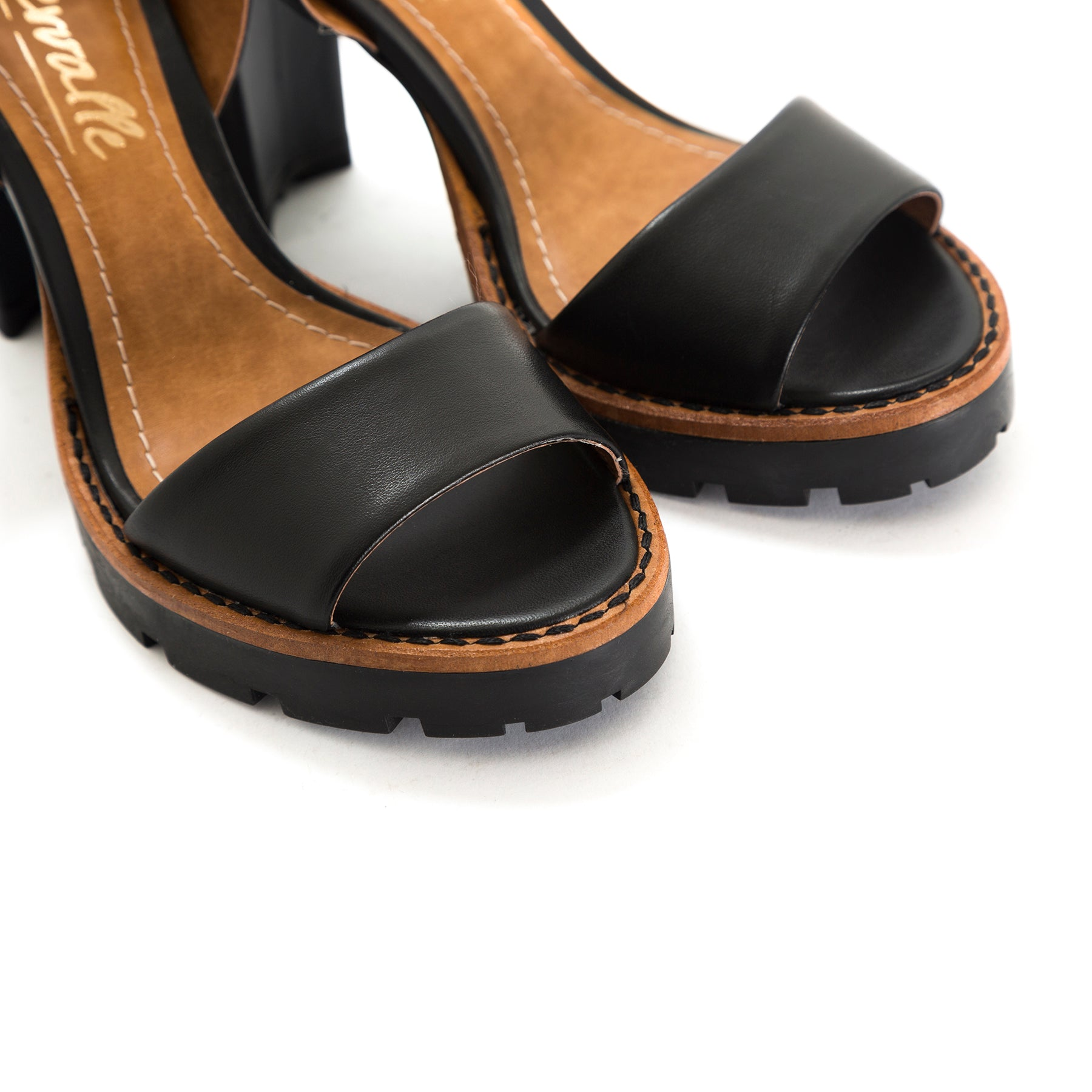 Deena Black Leather Sandals