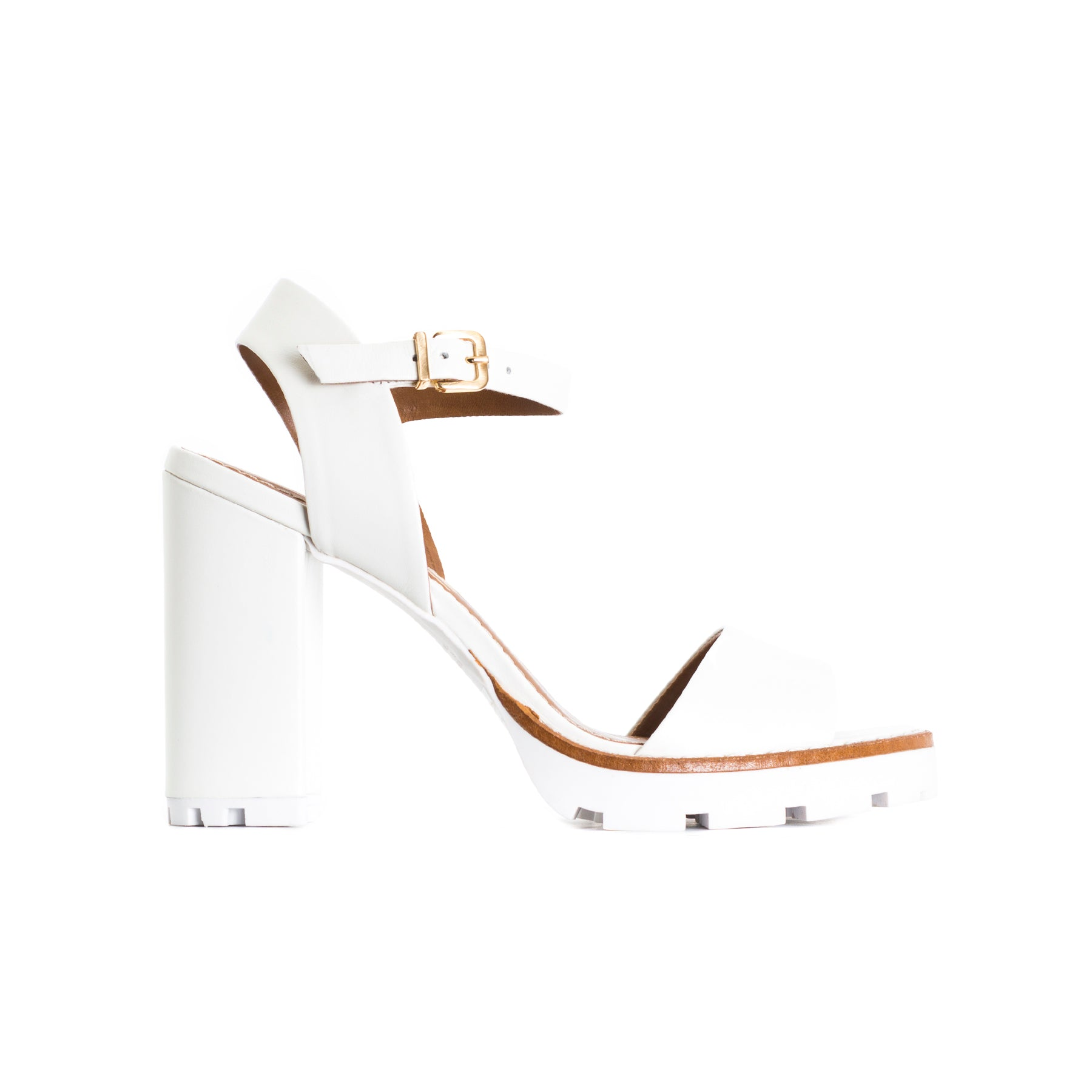 Deena White Leather Sandals