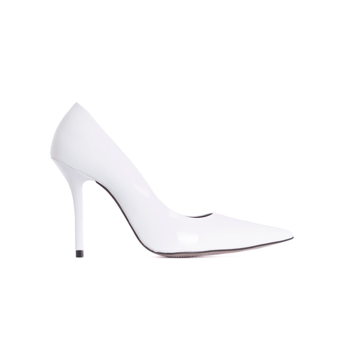 Devola White Patent Pumps