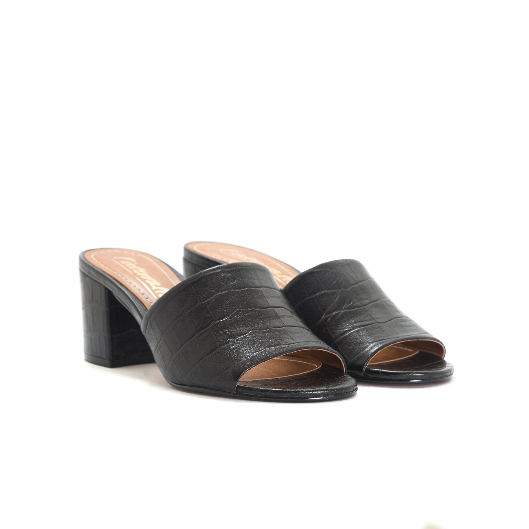 Dina Black Croco Mules