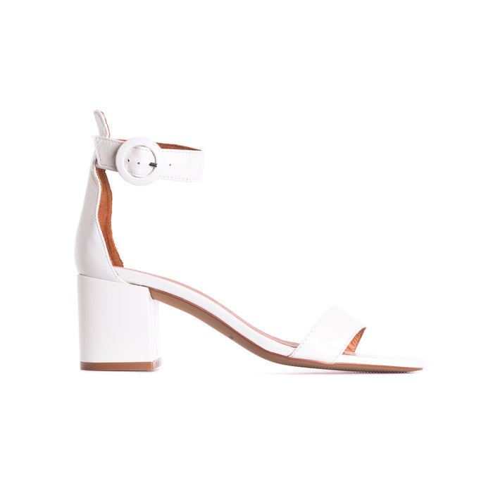 Eliza White Leather Sandals