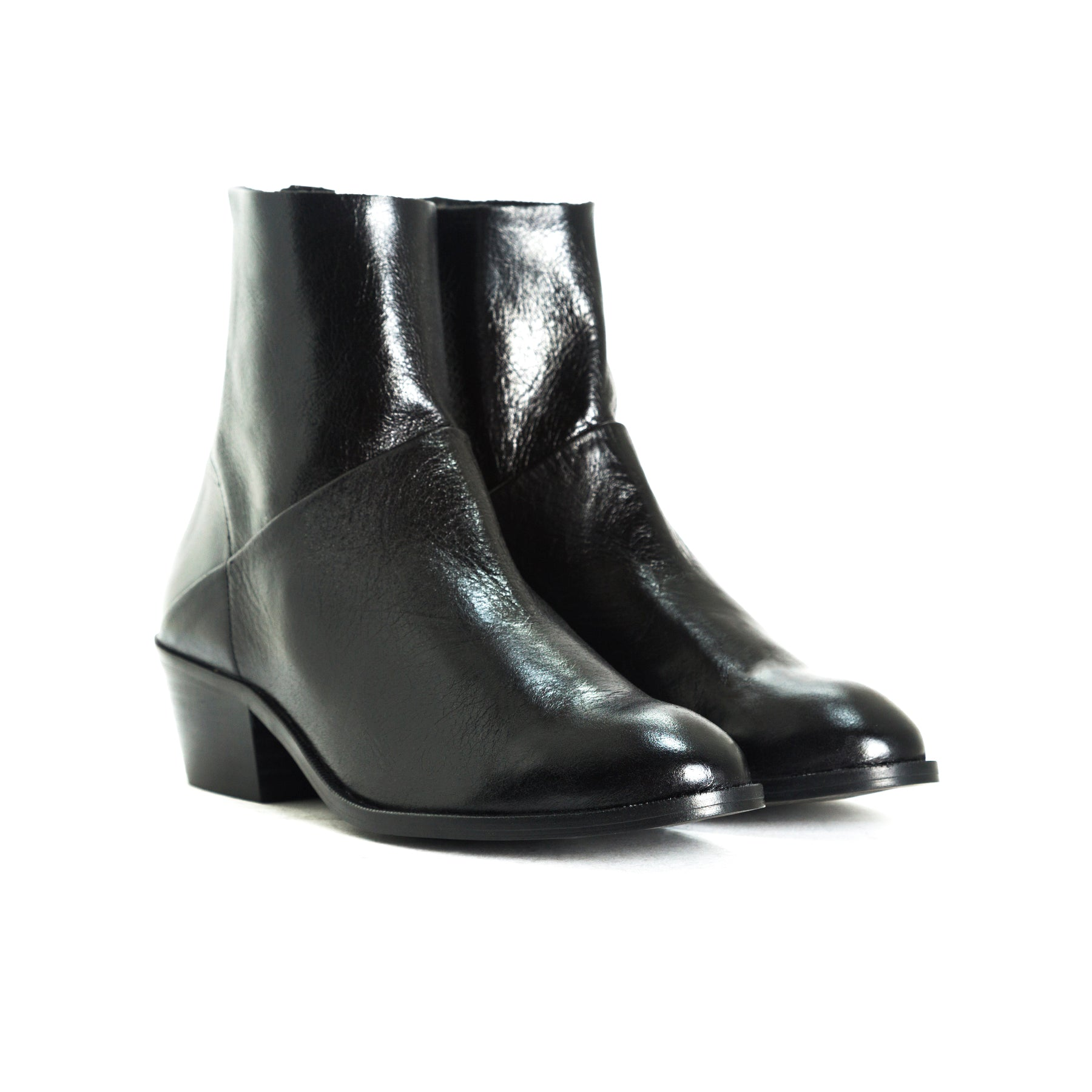 Elpaso Black Leather Booties
