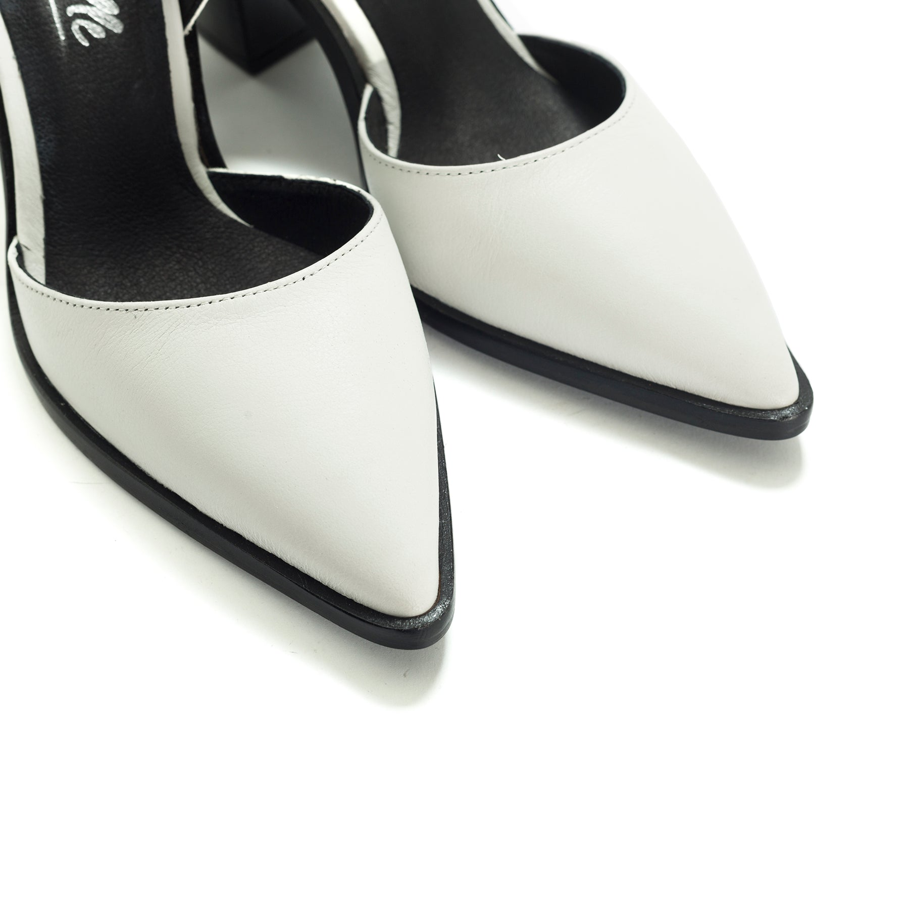Estefan White Leather Pumps