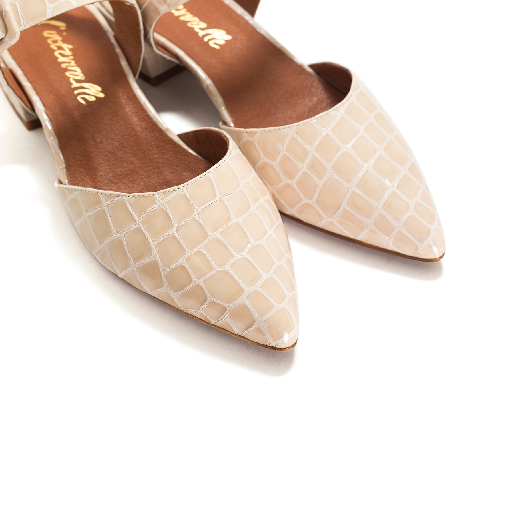 Evi Nude Croco Leather Shoes