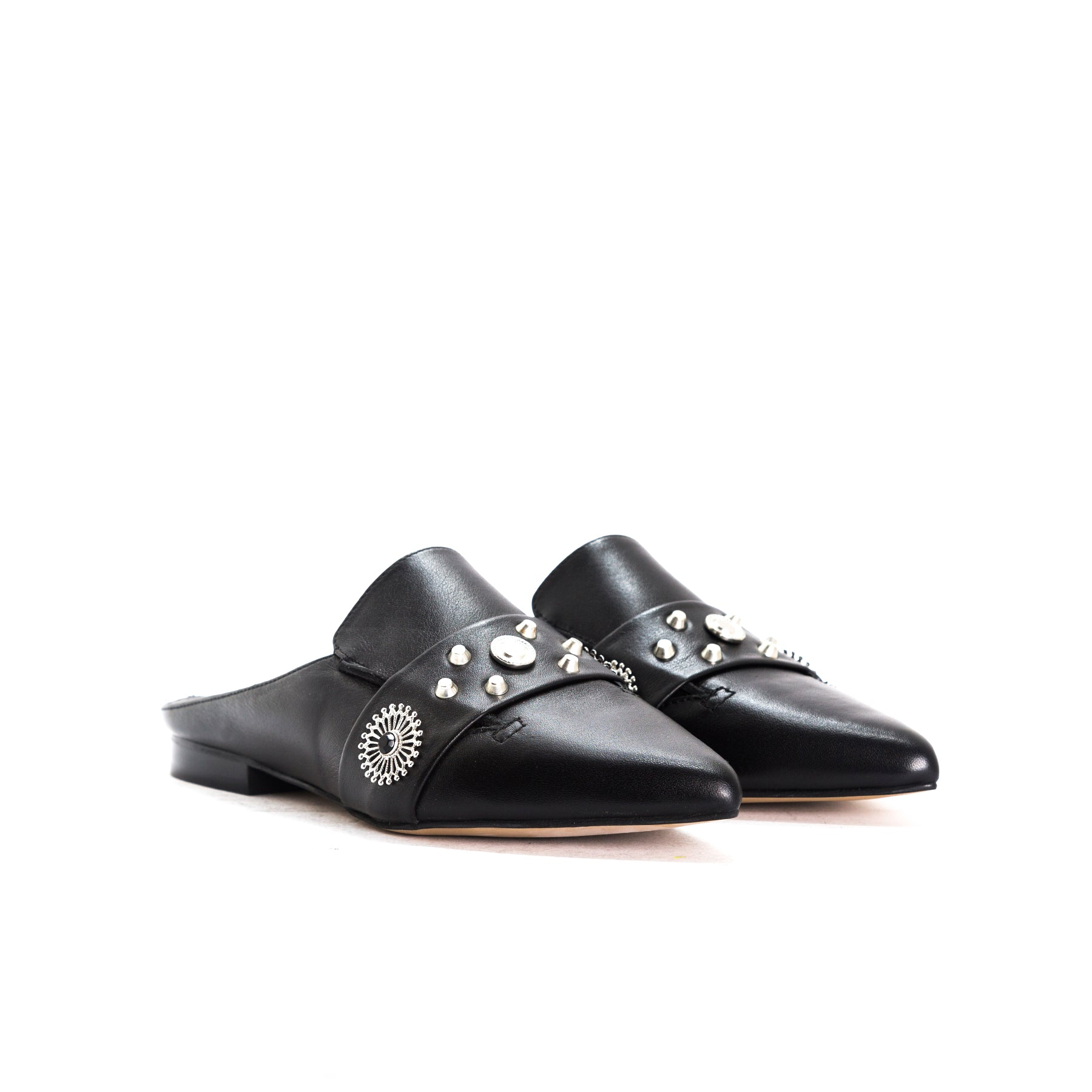 Falete Black Leather Mules